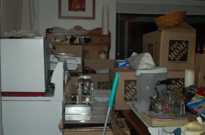 The dining room, which became the storage area temporarily